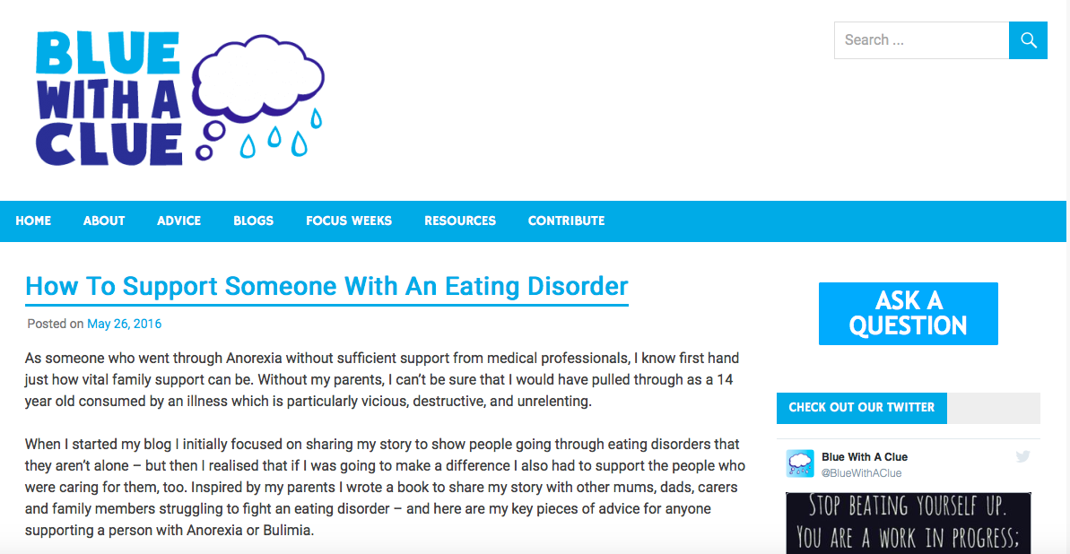 blue with a clue how to support eating disorder